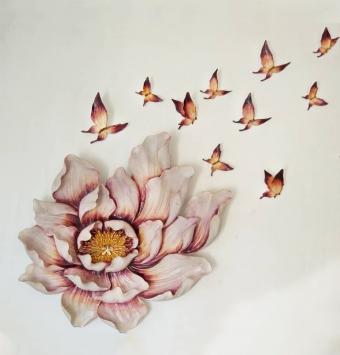 تابلو گل و پروانه براق